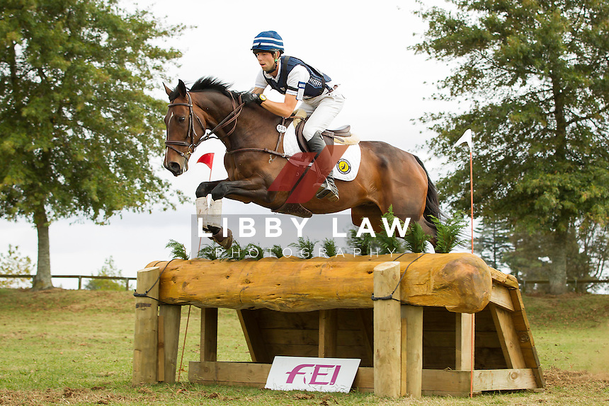 NZL-Clarke Johnstone (CALL ME AL) INTERIM-2ND: CNC1* CROSS COUNTRY: 2014 NZL-BNZ Kihikihi International Horse Trial (Saturday 12 April) CREDIT: Libby Law COPYRIGHT: LIBBY LAW PHOTOGRAPHY - NZL