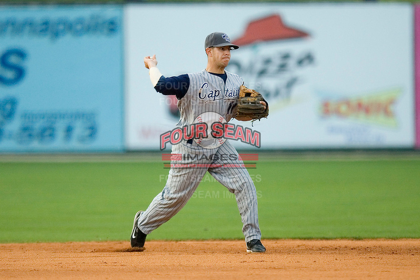 Shortstop Walter Diaz #11 of the Lake County Captains makes a throw to first base at Fieldcrest Cannon Stadium May 1, 2009 in Kannapolis, North Carolina. (Photo by Brian Westerholt / Four Seam Images)