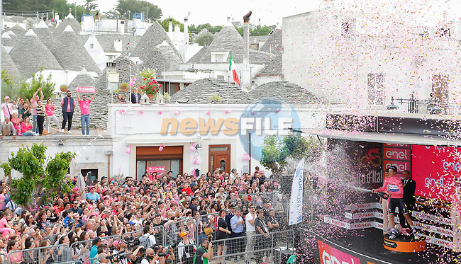 Race leader Bob Jungels (LUX) Quick-Step Floors retains the Maglia Rosa at the end of Stage 7 of the 100th edition of the Giro d'Italia 2017, running 224km from Castrovillari to Alberobello, Italy. 12th May 2017.<br /> Picture: LaPresse/Simone Spada | Cyclefile<br /> <br /> <br /> All photos usage must carry mandatory copyright credit (&copy; Cyclefile | LaPresse/Simone Spada)