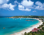 Anguilla, British West Indies: View of Road Bay, Road Point and Sandy Ground Harbor area on Anguilla's northwest coast, Caribbean Sea