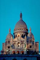 Sacre-Coeur at Montmartre, lit at twilight, Paris, France