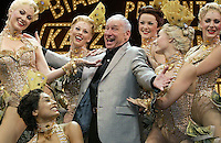 "Legendary funny-man Mel Brooks hams it up with chorus girls during a media call for his musical ""The Producers"" at the Princess Theatre in Melbourne. - pic by Trevor Collens"