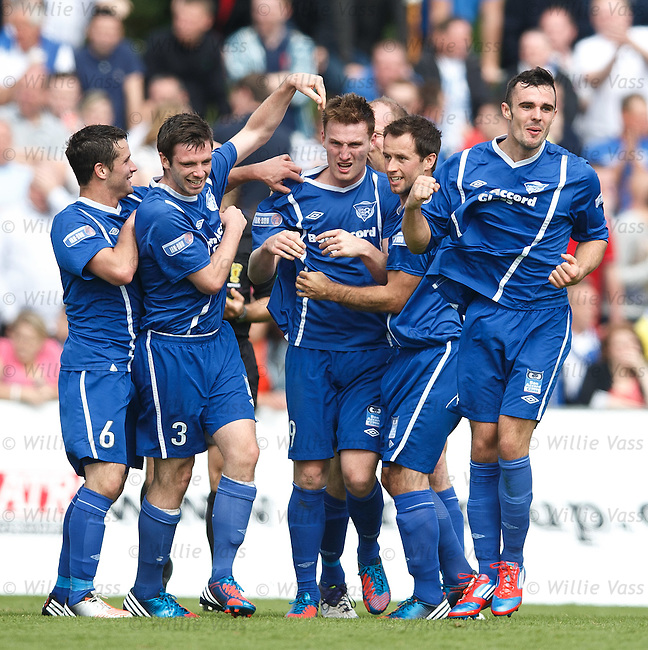 Rory McAllister celebrates his goal for Peterhead