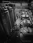 Fermentation Tanks in Warped Wing Brewery,Dayton OH in black and white