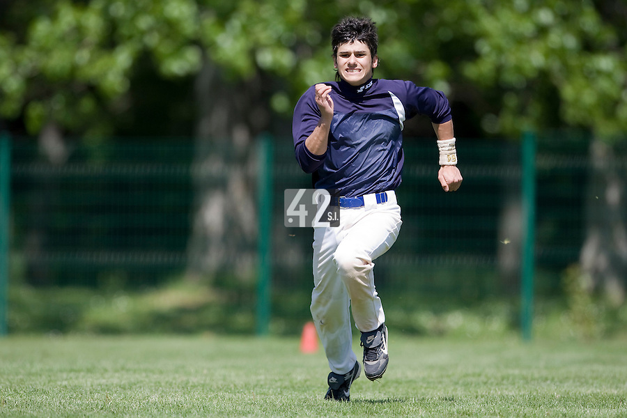 30 April 2008: Maxime Lefevre of France runs during the first of seven 2008 MLB European Academy Try-out Sessions throughout Europe, at Stade Kandy Nelson Ball Park, in Toulouse, France. Try-out sessions are run by members of the Major League Baseball Scouting Bureau with assistance from MLBI staff.
