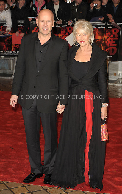 WWW.ACEPIXS.COM . . . . .  ..... . . . . US SALES ONLY . . . . .....October 19 2010, London....Bruce Willis and Helen Mirren at the UK Premiere of 'Red' at the Royal Festival Hall on October 19 2010 in London....Please byline: FAMOUS-ACE PICTURES... . . . .  ....Ace Pictures, Inc:  ..Tel: (212) 243-8787..e-mail: info@acepixs.com..web: http://www.acepixs.com