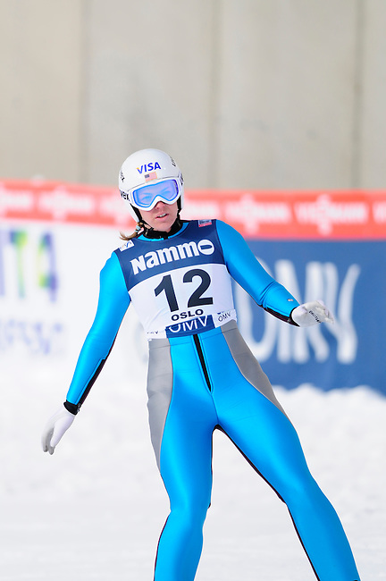 HOLMENKOLLEN, OSLO, NORWAY - March 17: Abby Hughes of USA (USA) during the Ladies FIS Ski Jumping World Cup from the large hill HS 134 Holmenkollbakken on March 17, 2013 in Oslo, Norway. (Photo by Dirk Markgraf)