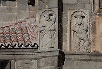 Relief sculptures, South facade, Museo Catedratico y Diocesano (Cathedral and Diocesian Museum), Avila Cathedral, 12th-14th centuries, Avila, Castile and Leon, Spain. Begun, 1095, in Romanesque style with fortifications, the style later switched to Gothic. Picture by Manuel Cohen
