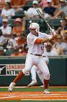 Texas Longhorns first baseman Kacy Clemens #42 at bat during the NCAA baseball game against the Oklahoma State Cowboys on April 26, 2014 at UFCU Disch–Falk Field in Austin, Texas. The Cowboys defeated the Longhorns 2-1. (Andrew Woolley/Four Seam Images)