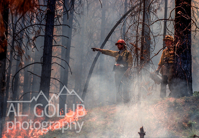 August 13, 1990 Yosemite National Park  --  A-Rock (Arch Rock) Fire  --  Firefighters watch as fires come together below fire break. The Arch Rock Fire burned over 16,000 acres of Yosemite National Park and the Stanislaus National Forest.  At the same time across the Merced River, the Steamboat Fire burned over 5,000 acres of both Yosemite National Park and the Sierra National Forest.