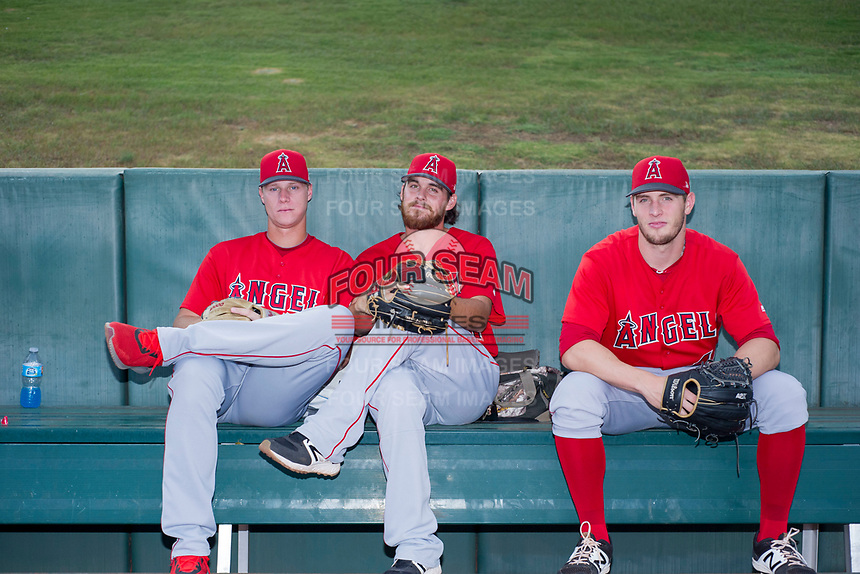 AZL Angels Tyler Walsh (10), Jon Malmin (21), and Max Herrmann (44) pose for a photo before a game against the AZL Diamondbacks on August 20, 2017 at Diablo Stadium in Tempe, Arizona. AZL Angels defeated the AZL Diamondbacks 19-1. (Zachary Lucy/Four Seam Images)