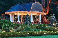Christmas lights on gazebo at Shore Acres State Park. Oregon