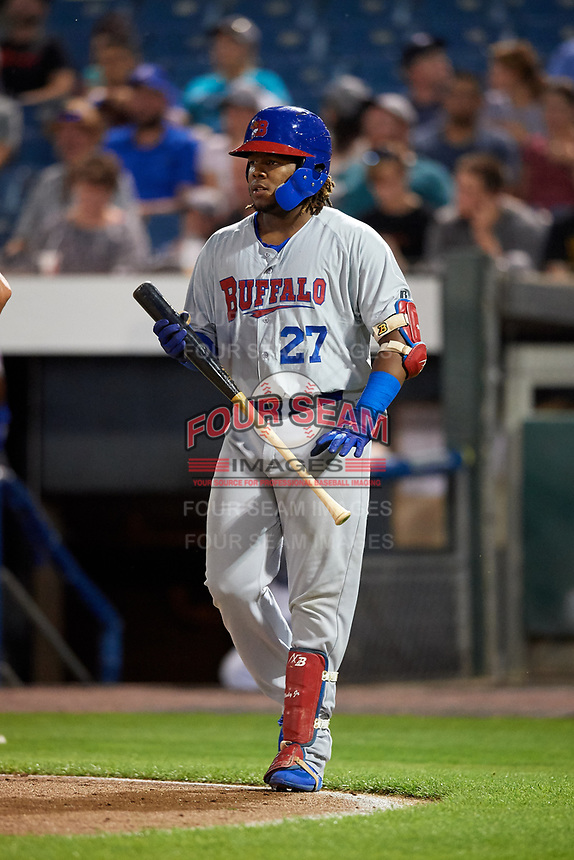Buffalo Bisons third baseman Vladimir Guerrero Jr. (27) walks to the plate during a game against the Syracuse Chiefs on September 2, 2018 at NBT Bank Stadium in Syracuse, New York.  Syracuse defeated Buffalo 4-3.  (Mike Janes/Four Seam Images)