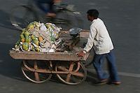 Asie/Inde/Rajasthan/Jaipur: marchand ambulant de fruits, mangues, marché prés porte Tripolia