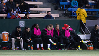 Seattle, WA - Saturday March 24, 2018: Washington Spirit bench during a regular season National Women's Soccer League (NWSL) match between the Seattle Reign FC and the Washington Spirit at the UW Medicine Pitch at Memorial Stadium.
