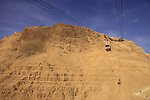 Israel, Judean desert, the cable car at Masada