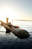 USA, California, San Diego, an old submarine lies dorminant in the San Diego Bay
