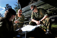 Norwegian Home Guard soldiers plan operations during exercise Djerv..The Home Guard has traditionally been designated to secure important  domestic installations in case of war or crisis. With the cold war long gone, a war in Afghanistan and budget cuts, there is a debate over the Home Guard's role in the future.