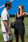 Real Madrid's Alvaro Morata  and her girlfriend Alice Campello during the presentation of the player at the Santiago Bernabeu Stadium. August 15, 2016. (ALTERPHOTOS/Rodrigo Jimenez)