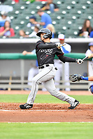 Birmingham Barons second baseman Mitch Roman (7) swings at a pitch during a game against the Tennessee Smokies at Smokies Stadium on May 15, 2019 in Kodak, Tennessee. The Smokies defeated the Barons 7-3. (Tony Farlow/Four Seam Images)