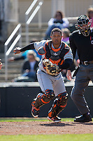 Delmarva Shorebirds catcher Yermin Mercedes (17) chases after a wild pitch during the game against the Kannapolis Intimidators at Kannapolis Intimidators Stadium on April 13, 2016 in Kannapolis, North Carolina.  The Intimidators defeated the Shorebirds 8-7.  (Brian Westerholt/Four Seam Images)