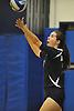 Massapequa No. 7 Adrienne Dorr serves during a Nassau County varsity girls' volleyball match against host Plainview JFK High School on Monday, October 19, 2015. Massapequa won 25-16, 25-8, 25-13.<br /> <br /> James Escher
