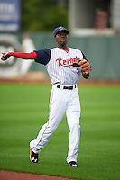 Cedar Rapids Kernels shortstop Nick Gordon (5) warms up before a game against the Kane County Cougars on August 18, 2015 at Perfect Game Field in Cedar Rapids, Iowa.  Kane County defeated Cedar Rapids 1-0.  (Mike Janes/Four Seam Images)