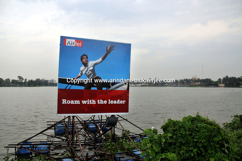 An advertising board of leading GPRS service provider AIRTEL seen at a water tank in  Kolkata, West Bengal, India.  ARINDAM MUKHERJEE