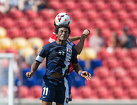 SANDY, UT - July 13, 2013: Belize National Team forward Michael Salazar (11) during the Costa Rica vs Belize match at Rio Tinto Stadium in Sandy, Utah. Final score Costa Rica 1, Belize 0.