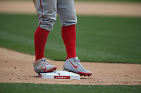 OAKLAND, CA - MARCH 28:  Details of Nike cleats worn by Mike Trout #27 of the Los Angeles Angels as he takes his lead off third base against the Oakland Athletics during the game at the Oakland Coliseum on Thursday, March 28, 2019 in Oakland, California. (Photo by Brad Mangin)