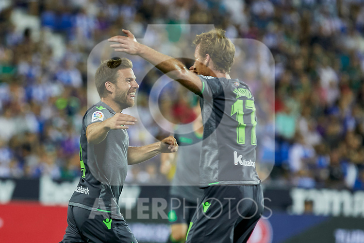 Real Sociedad's Asier Illarramendi (l) and David Zurutuza (r) celebrate goal during La Liga match. August 24, 2018. (ALTERPHOTOS/A. Perez Meca)