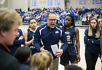 NWA Democrat-Gazette/CHARLIE KAIJO Bentonville West High School head coach Randy Richardson talks to his players during a basketball game, Friday, February 8, 2019 at Rogers High School in Rogers.