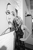 Montreal (Qc)CANADA - November 30, 2006 File Photo - Singer, painter and former reality tv contestant in Quebec Elisabetta Fantone exhibit her paintings in Old-Montreal,