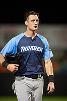 Trenton Thunder left fielder Zack Zehner (63) during the second game of a doubleheader against the Bowie Baysox on June 13, 2018 at Prince George's Stadium in Bowie, Maryland.  Bowie defeated Trenton 10-1.  (Mike Janes/Four Seam Images)