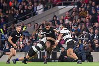 Twickenham, Surrey. England.  All Black, Seta TAMANIVALU, goes fro the gap, during the Killik Cup, Barbarians vs New Zealand. Twickenham. UK<br /> <br /> Saturday  04.11.17<br /> <br /> [Mandatory Credit Peter SPURRIER/Intersport Images]