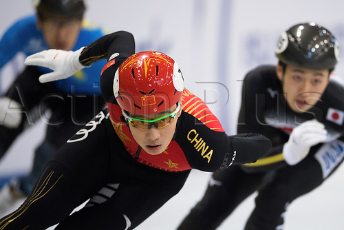 1st February 2019, Dresden, Saxony, Germany; World Short Track Speed Skating; 500 meter men in the EnergieVerbund Arena. Ren Ziwei from China runs in a bend.