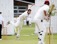 J Gregory of Hornsey bowls to Jake Sharland during the Middlesex County Cricket League Division Three game between Highgate and Hornsey at Park Road, Crouch End on Sat July 25, 2009