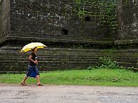 Women with Umbrella near the Lay Myat Na Temple, Mrauk U, Myanmar,