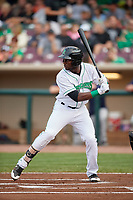 Dayton Dragons left fielder Taylor Trammell (5) at bat during a game against the Cedar Rapids Kernels on May 10, 2017 at Fifth Third Field in Dayton, Ohio.  Cedar Rapids defeated Dayton 6-5 in ten innings.  (Mike Janes/Four Seam Images)