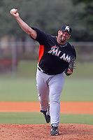 Miami Marlins pitcher Heath Bell #21 during a minor league spring training game against the New York Mets at the Roger Dean Sports Complex on March 28, 2012 in Jupiter, Florida.  (Mike Janes/Four Seam Images)