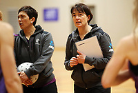29.08.2017 Silver Ferns coach Janine Southby in action during the Silver Ferns training in Auckland. Mandatory Photo Credit ©Michael Bradley.
