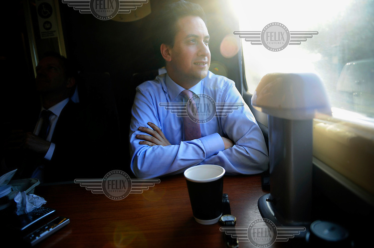 Ed Miliband , Labour Party Leader, on a train returning to London after a day of campaigning in Norfolk and Suffolk..