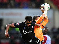 Lincoln City's Matt Green vies for possession with Rotherham United&rsquo;s Richard O&rsquo;Donnell<br /> <br /> Photographer Chris Vaughan/CameraSport<br /> <br /> The Carabao Cup First Round - Rotherham United v Lincoln City - Tuesday 8th August 2017 - New York Stadium - Rotherham<br />  <br /> World Copyright &copy; 2017 CameraSport. All rights reserved. 43 Linden Ave. Countesthorpe. Leicester. England. LE8 5PG - Tel: +44 (0) 116 277 4147 - admin@camerasport.com - www.camerasport.com