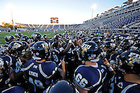 4 December 2010:  FIU's team gathers prior to taking the field for pre-game warm-ups.  The Middle Tennessee State University Blue Raiders defeated the FIU Golden Panthers, 28-27, at FIU Stadium in Miami, Florida.
