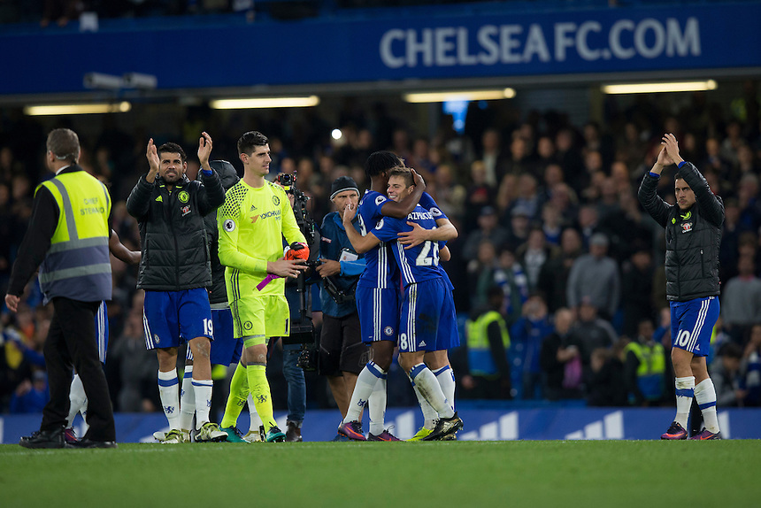 Chelsea players celebrate at full time<br /> <br /> Photographer Craig Mercer/CameraSport<br /> <br /> The Premier League - Chelsea v Manchester United - Sunday 23rd October 2016 - Stamford Bridge - London<br /> <br /> World Copyright &copy; 2016 CameraSport. All rights reserved. 43 Linden Ave. Countesthorpe. Leicester. England. LE8 5PG - Tel: +44 (0) 116 277 4147 - admin@camerasport.com - www.camerasport.com