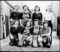 BNPS.co.uk (01202 558833)<br /> Pic:   HistoryPress/BNPS<br /> <br /> Edna Holland and friends on training camp in Wetherby.<br /> <br /> These inspiring photos tell the little known story of the patriotic women who chopped down trees to help us win the Second World War.<br /> <br /> When war was declared in September 1939 Britain was almost completely dependent on imported timber and only had seven months worth of it stockpiled.<br /> <br /> With men being sent to the front line in their droves, the Woman's Timber Corps was established to fell trees, operate sawmills and run forestry sites.<br /> <br /> About 15,000 women, some as young as 14, volunteered to carry out the arduous tasks previously done by men.