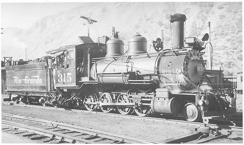 3/4 engineer's-side view of D&amp;RGW #315 in Durango, CO.<br /> D&amp;RGW  Durango, CO  Taken by Hanft, Robert M. - 9/1/1942
