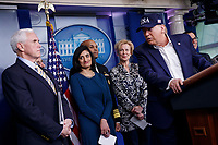 US President Donald J. Trump, with Vice President Mike Pence (L), administrator of the Centers for Medicare and Medicaid Services Seema Verma (2-L), Surgeon General of the United States Jerome Adams (3-L) and Coronavirus response coordinator for the White House Deborah Birx (2-R), responds to a question from the news media during a press conference in the press briefing room at the White House in Washington, DC, USA, 14 March 2020. To date there are 2175 confirmed cases of COVID-19 coronavirus in the US with 50 deaths.<br /> Credit: Shawn Thew / Pool via CNP/AdMedia