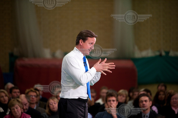 Conservative Party leader (later Prime Minister) David Cameron answers questions at a Conservative Party event in Richmond, London.