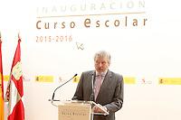 Inigo Mendez de Vigo, Minister of Education, Culture and Sports of the Government of Spain, attends the opening of 2015-2016 scholarship course at 'Marques de Santillana' school on September 21, 2015 in Palencia, Spain. September 21,2015. (ALTERPHOTOS/Acero) /NortePhoto.com